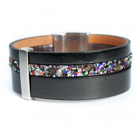 Bracelet cuir vernis noir et glitter multicolore