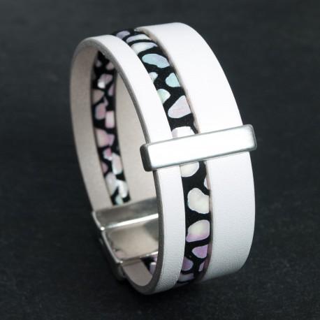 Bracelet cuir blanc daim noir à motifs nuancés