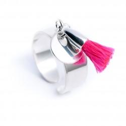 Bague pampille argent 925 médaille et pompon coton fuchsia