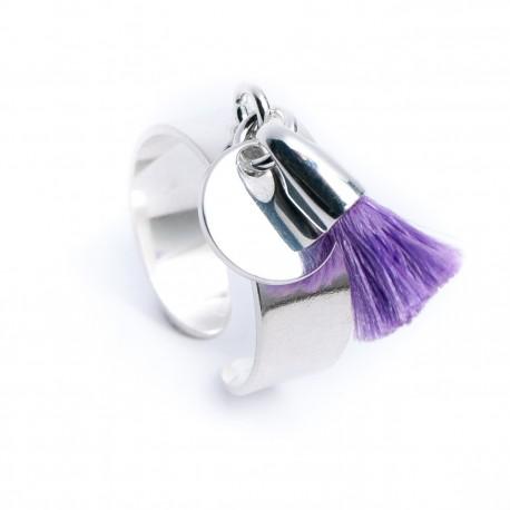 Bague pampille argent 925 médaille et pompon coton violet