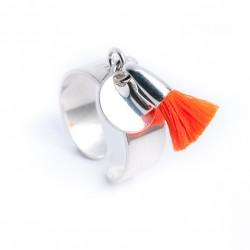 Bague pampille argent 925 médaille et pompon coton orange fluo