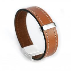 Bracelet cuir couturé 15mm camel