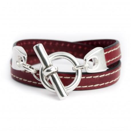 Bracelet cuir couturé double tour bordeaux