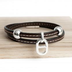 Bracelet cuir double tour couturé petite maille marine marron foncé