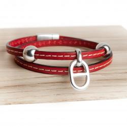 Bracelet cuir double tour couturé petite maille marine cuir rouge