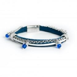 Bracelet cuir bleu nuit multi lanières avec perles bleues