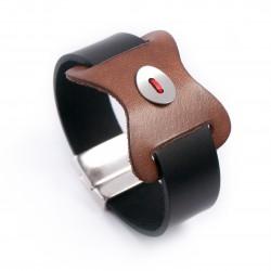 Manchette cuir noir et pièce camel bouton cuir rouge