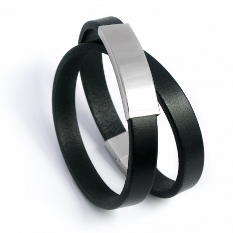 Bracelet homme double tour cuir noir et acier