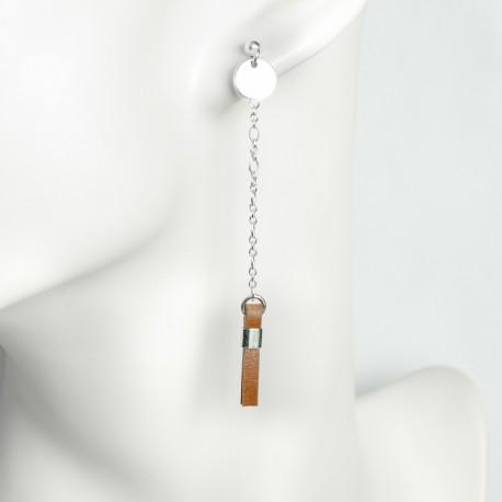 Boucles d'oreille argent massif médaille et boucle cuir marron