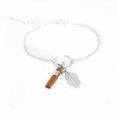 Bracelet argent massif avec plume et pampille cuir