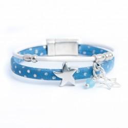 Bracelet cuir daim bleu à pois étoile et perle bleue
