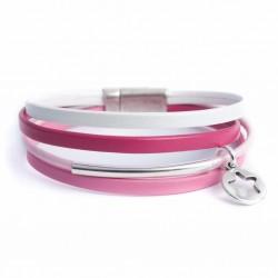 Bracelet cuir multi-lanières tons rose et étoile ajourée