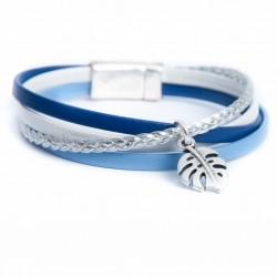 Bracelet cuir multi lanière ton bleu tresse argentée et feuille philodendron