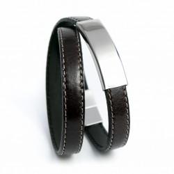 Bracelet homme en cuir couture marron foncé plaque acier