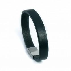 Bracelet homme en cuir épais noir