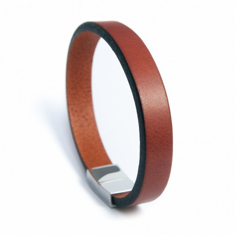 Bracelet homme cuir marron clair et acier