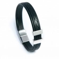 Bracelet homme cuir imprimé noir
