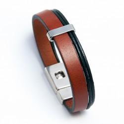 Bracelet homme en cuir épais marron clair et cordons noirs
