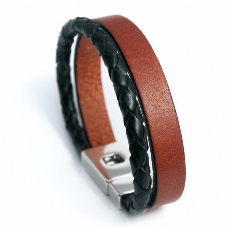 Bracelet homme cuir marron clair et cuir tressé rond noir