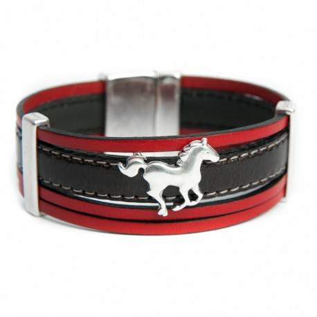 Manchette cuir rouge et cuir noir avec cheval
