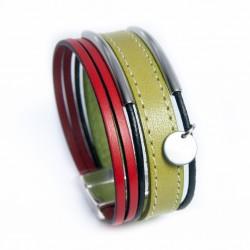 Manchette cuir vert pistache et rouge avec tubes acier