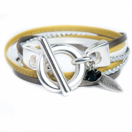 Bracelet cuir double tour moutarde bronze tresse argent fermeture boucle argent
