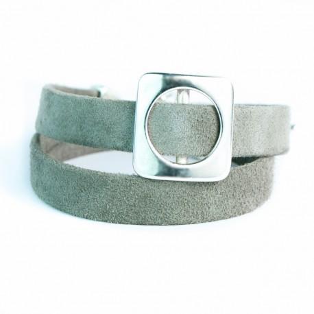Bracelet cuir double tour velours passant carré