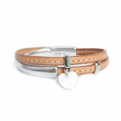 Bracelet cuir fermoir demi jonc aimanté coeur en nacre