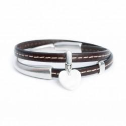 Bracelet cuir et femoir demi-jonc aimanté coeur en nacre