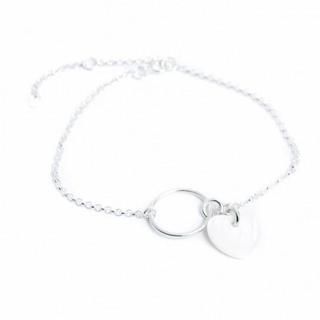 Bracelet argent massif anneau et coeur en nacre