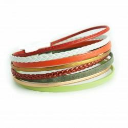 Bracelet cuir multi lanières tresse rouge foncée