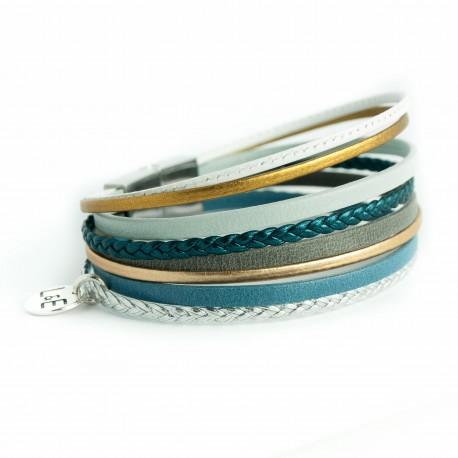 Bracelet multi lanières avec tresse bleue paon