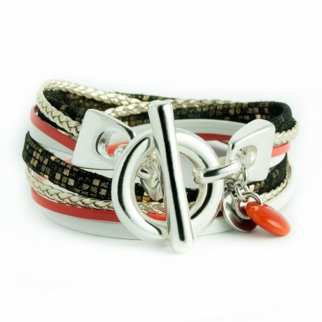 Bracelet cuir carreau ton or double tour fermoir T