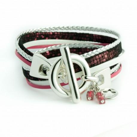 Bracelet double tour carreaux roses fermoir T
