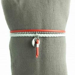 Bracelet cuir fine chaine boule pampille pompon cuir coordonné