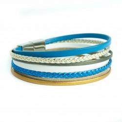 Bracelet cuir multi lanières tresse bleue