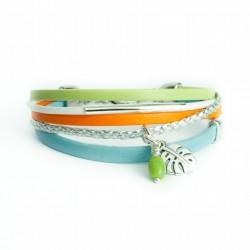 Bracelet cuir multi-lanières tresse argent, perle verte et feuille